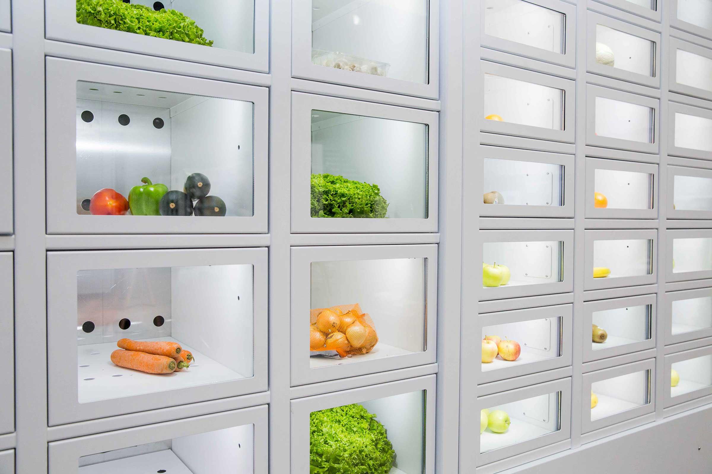 Légumes dans un Casier Français, le distributeur automatique des producteurs indépendants