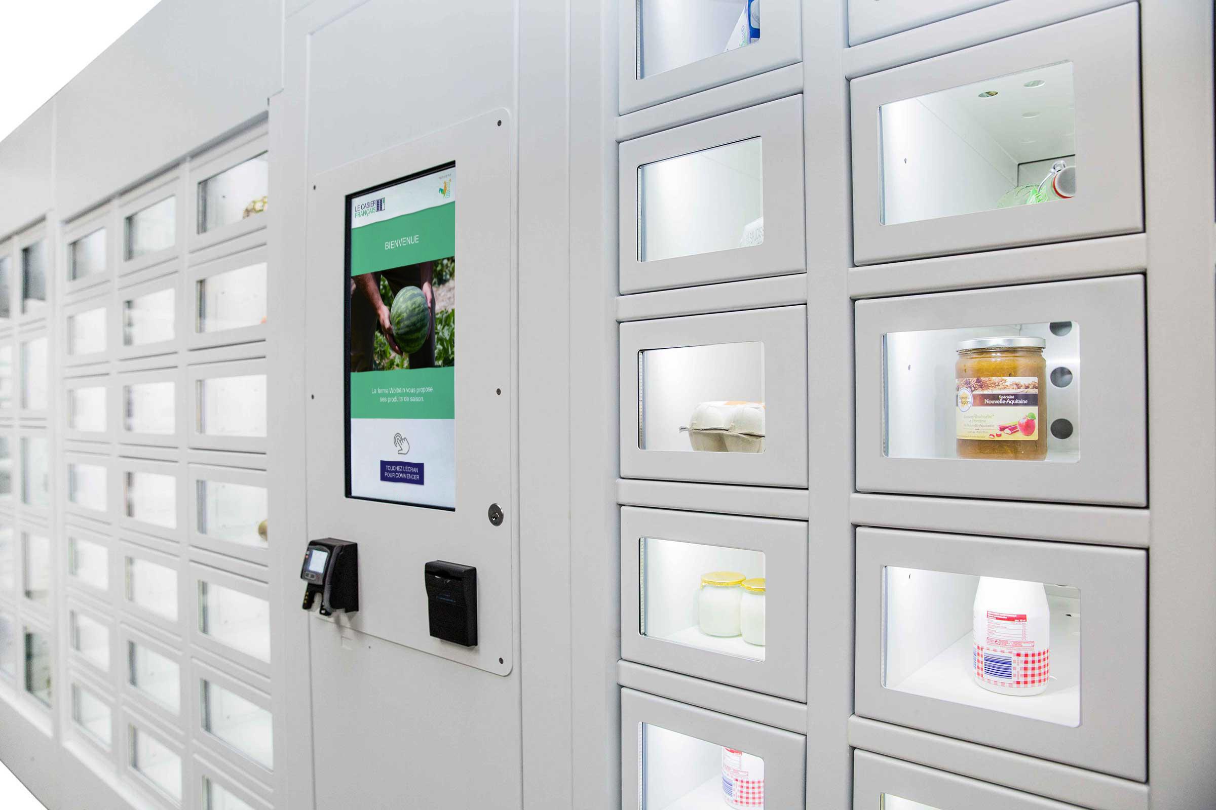 Produits laitiers dans un distributeur automatique Le Casier Français
