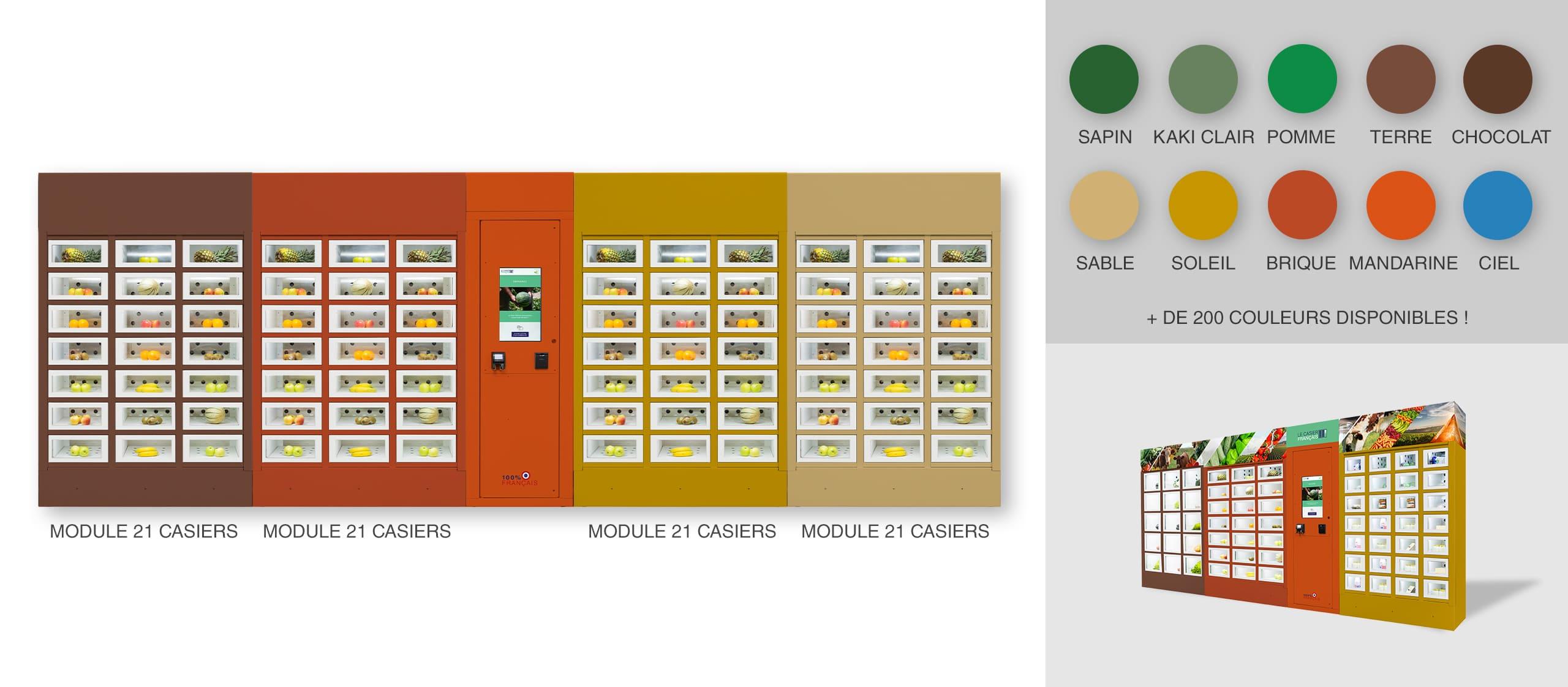 Habillage différentes couleurs par module d'un distributeur automatique Le Casier Français