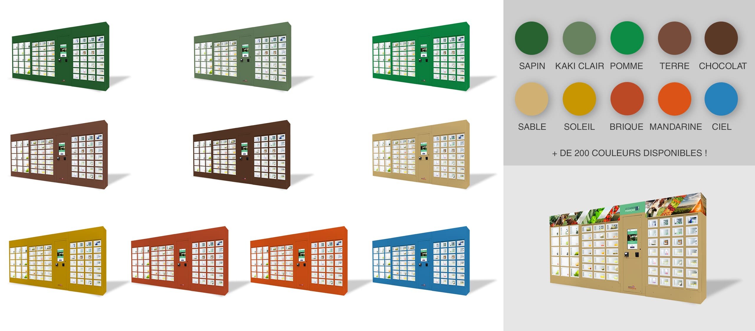 Habillage différentes couleurs d'un distributeur automatique Le Casier Français