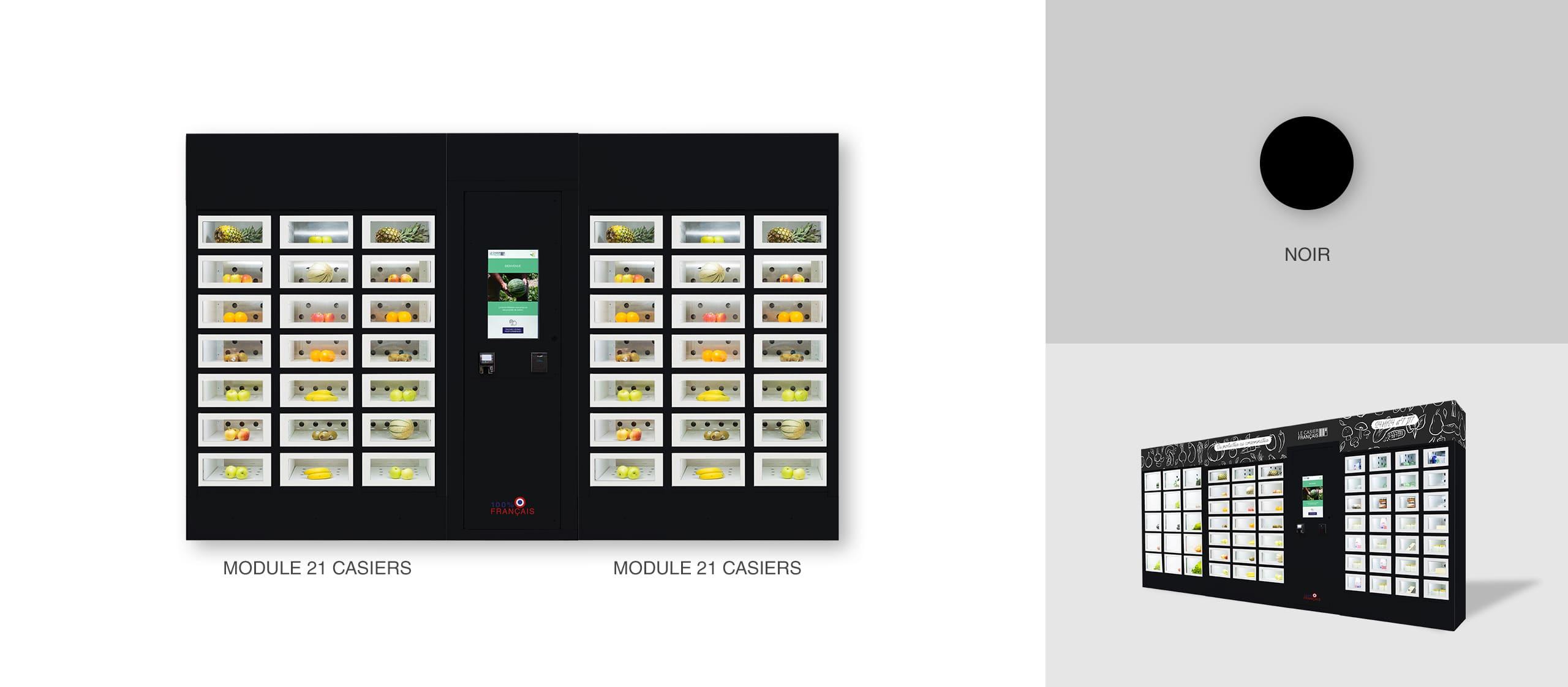 Habillage couleur noire d'un distributeur automatique Le Casier Français
