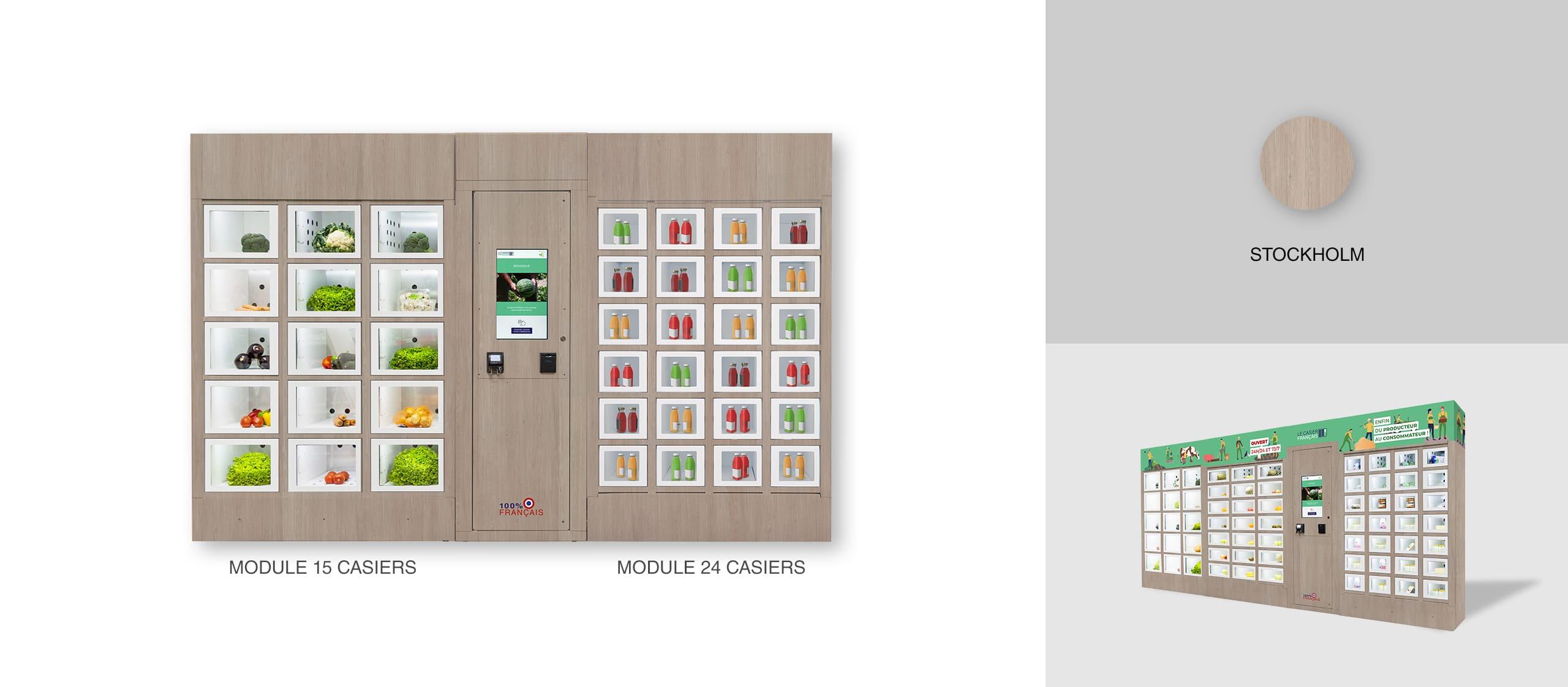 Habillage Stockholm d'un distributeur automatique Le Casier Français